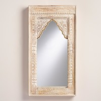 Oversized Ivory Carved Wood Mirror