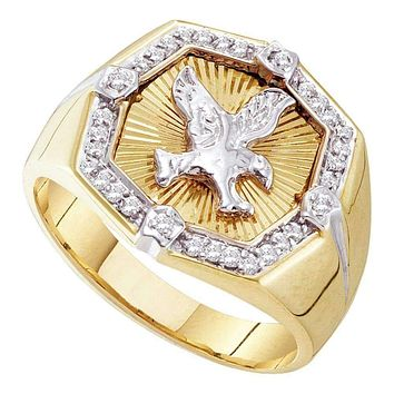 10kt Yellow Gold Mens Round Diamond Eagle Cluster Ring 1/4 Cttw - FREE Shipping (US/CAN)
