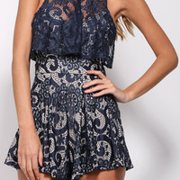 Navy Semi Sheer Lace Romper