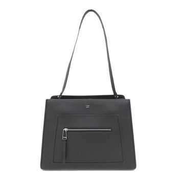 Fendi Shopping Bag Runaway Calf Leather Black Palladium Metal Hardware Satchel 8BH343