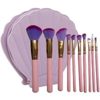 Mermaid Dream 10 PCS Makeup Brushes with Shell Case