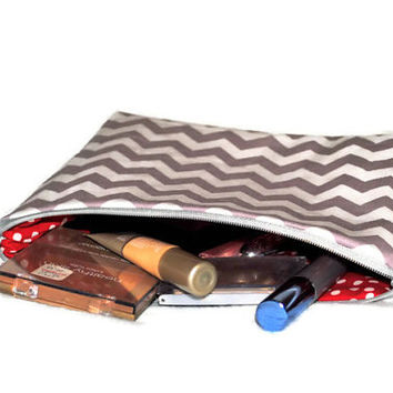 Grey and White Chevron Cosmetic Bag // Zippered Make Up Pouch // Red and White Polka Dot // Toiletry Bag