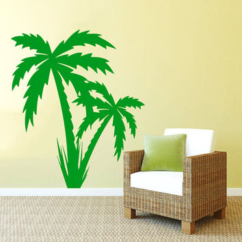 Wall Decal Vinyl Sticker Decals Art Home Decor Design Mural Couple Palm Branch Beach Tree Hawaii Sun Summer Fashion Bedroom Dorm AN91
