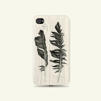 Classy White Wood & Drawing Feathers Plastic Hard Case - iphone 5 - iphone 4 - iphone 4s - Samsung S3 - Samsung S4 - Samsung Note 2