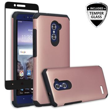 ZTE ZMAX Pro Case, ZTE Blade X Max, ZTE Carry, [Include Temper Glass Screen Protector] Slim Hybrid Dual Layer Armor[Shock Absorbent] Case for ZMAX Pro - Rose Gold