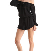 RUFFLED OFF THE SHOULDER CROCHET ROMPER - BLACK