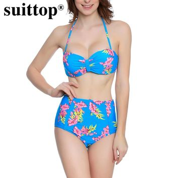suittop New Women Swimwear Printed Floral High Waist Bikini Set Bathing Suits 2017 Sexy Push Up Halter Swimsuit Femme Biquinis