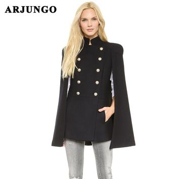 ARJUNGO Fashion 2017 Autumn New Vintage Woolen jacket Women's Cloak Coat Drop-Shoulder Sleeve Wool Cape High quality