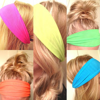 Choose One Yoga Hipster Scarf Hair Headband Neon Pink Blue Green Yellow Orange Stretch Elastic Comfortable Non-Marking DOLLAR SHIPPING in US