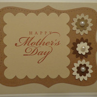 Handmade Mother's Day Card, Mom's Day Card, Happy Mother's Day Card- Handstamped