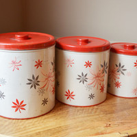 Decoware Kitchen Canisters ( Set of 3 ) - White with red lids, floral pattern