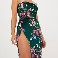 Green Floral Velvet Extreme Split Bandeau Midi Dress