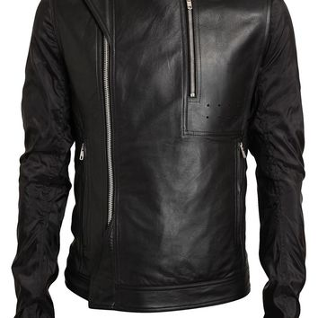 Rick Owens Vicious Leather And Mesh Biker Jacket