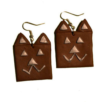 Abstract Cat Earrings geometric square Jewelry Polymer Clay Sale Jewellery Brown abstract Art hand made Handmade drop earrings Cat Earrings