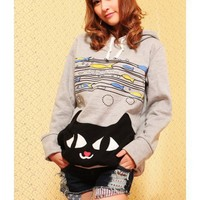 Grey Cotton Cat Print Cap Hoddies@T215g