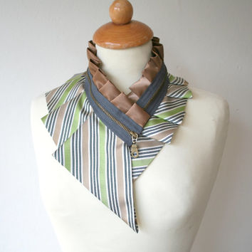 Striped collar necklace, beige green gray black white, zipper collar necklace, eco fashion, recycled neck tie (65)