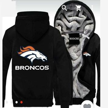 Mens Casual Horse Print Pattern Letter Hooded Brand Harajuku Marvel Anime Thick Warm Winter Men's Slim Jackets Denver Broncos