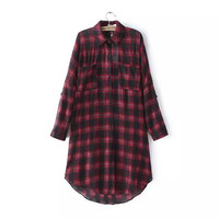Plaid Print Long Sleeve Turn-Down Collar Button Pocket Shirt Dress