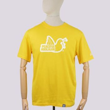 Peaceful Hooligan Outline Dove T-Shirt - Yellow
