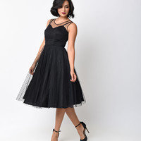 Unique Vintage 1950s Style Black Dot High Society Swing Dress