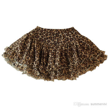 Retail girls leopard tutu skirts Children babys kids summer chiffon Lantern skirts kids fashion ALL-Match tutu skirts 2808-1