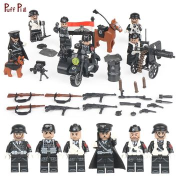 Classic WW2 German Army Soldiers Building Blocks Military Figures Weapon Gun Accessories Compatible Legoing City Bricks Kids Toy