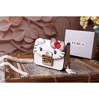 FURLA WOMEN'S LEATHER HELLO KITTY INCLINED CHAIN SHOULDER BAG