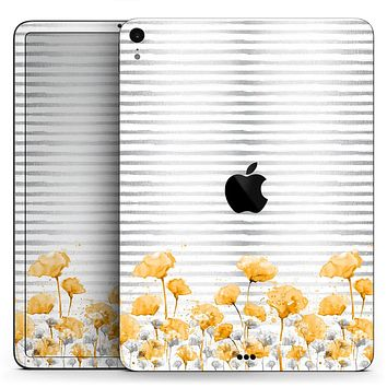 "Karamfila Yellow & Gray Floral V16 - Full Body Skin Decal for the Apple iPad Pro 12.9"", 11"", 10.5"", 9.7"", Air or Mini (All Models Available)"