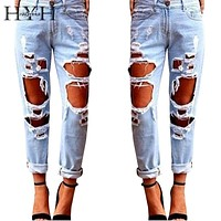 Boyfriend Hole Ripped Jeans Women Pants Cool Demin Loose Vintage Jeans For Girl Mid Waist Casual Pants Female