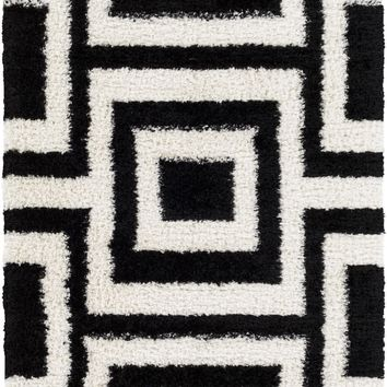 Winfield Shag Area Rug Black, Neutral