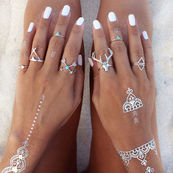 Darker fashion boho ethnic vintage silver plated deer head  finger rings joint ring punk womens  jewelry
