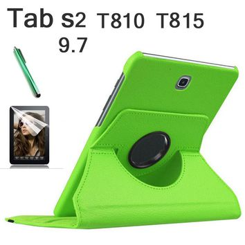 360 Rotation luxury PU Leather cover case For Samsung Galaxy Tab S2 9.7 T810 T815 flip stand fashion smart flip case+tylus+film