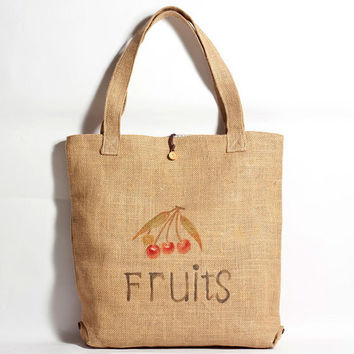 Straw Bag - Hand Drawn Fruits Pattern Straw Tote Bag - Made to Order
