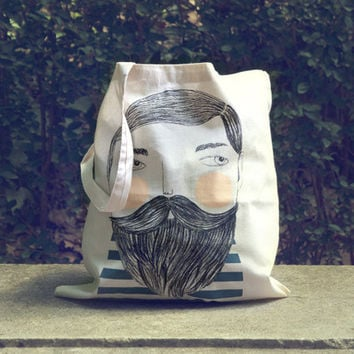 Bearded  screen printed canvas Tote bag by depeapa on Etsy
