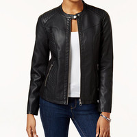 Style & Co Faux-Leather Moto Jacket, Created for Macy's | macys.com