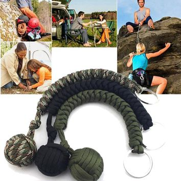 Outdoor Strand Stainless Steel Ball Paracord Parachute Cord Key chain Key Ring Outdoor Climbing Camping Umbrella Rope Survival