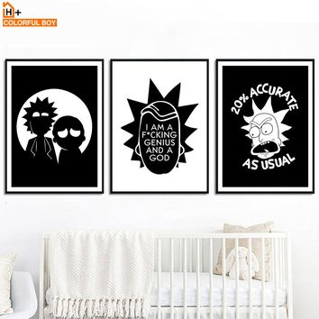 Rick And Morty Quotes Wall Art Print Canvas Painting Nordic Posters And Prints Black White Cartoon Wall Pictures Kids Room Decor