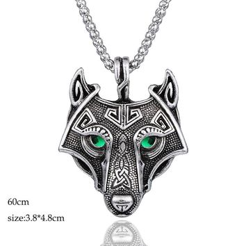 Norse Viking Zinc alloy Jewelry Wolf Head with Green Eye Pendant Punk Dope Necklace Original Animal Jewelry for men Gifts