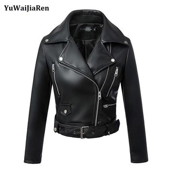 YuWaiJiaRen Leather Jacket Women's Outerwear Jacket And Coat Ladies Leather Clothing Female Motorcycle Leather Jacket