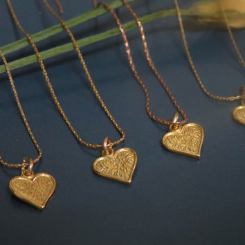 Bridesmaid gift ideas set of 4 gold heart necklaces, Bridesmaid jewelry sets, Dainty gold necklaces