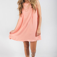 pleated perfection shift dress - peach