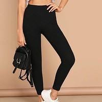 High Waist Rib Knitted Solid Casual Leggings Women Stretchy Fitness Midi Waist Skinny Basics Crop Leggings