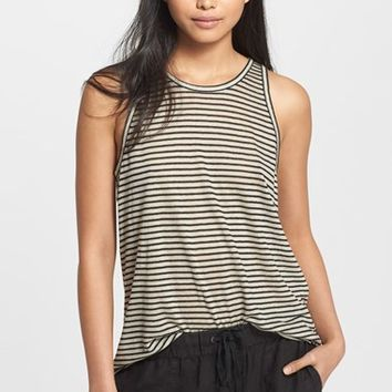 Women's Enza Costa Stripe Linen Blend Tank