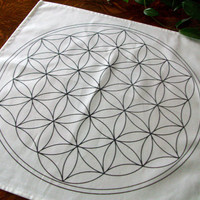 20x20 Flower of Life Black Line Grid Cloth Template, Crystal Grid Board, Archangel Metatron, Sacred Altar Cloth, Chakra Happiness, Balance