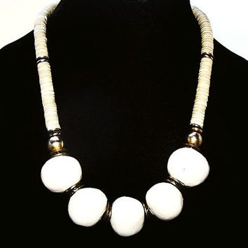"""Natural Bone & Bead Necklace White Glass Stones Gold Brass Beads Hook Clasp 20"""" Tribal, Boho Chic, Hippie, GenX, Vintage 1970s-80s"""