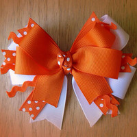 Orange & White Pinwheel Hair Bow by MBellaBowtique on Etsy
