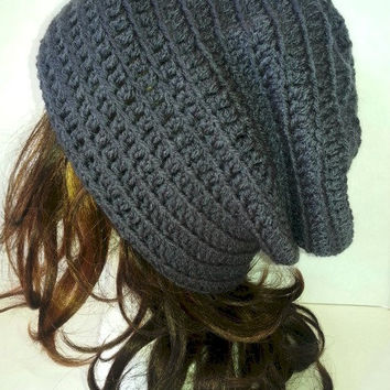 Dark Grey Slouch Crochet Grey Beanie Womens Hat Slouchy Crochet Hat Baggy Beanie Womens Beanie Long Beanie Hat Crochet Hipster Hat Toque