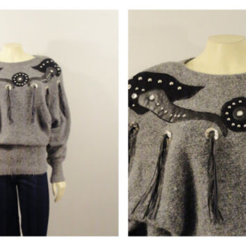 Vintage Sweater 80s Silk Blend Knit Dolman / Batwing Faux Leather Tassles and Rhinestones Sz Small