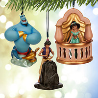 disney store art of jasmine aladdin christmas ornament set limited new with box