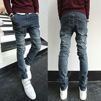 Long Asymmetric Zip Designer Slim Fit Jeans